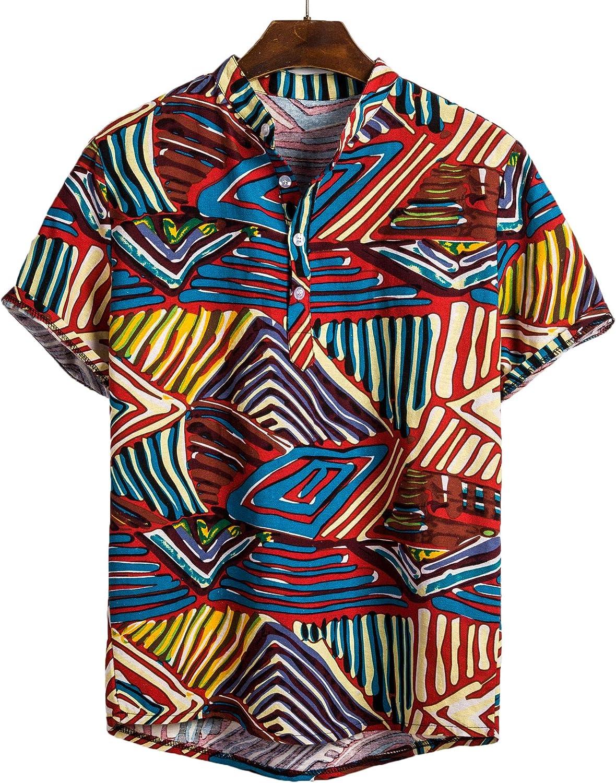 Lookwoild Mens Short Sleeve Linen Shirts Button Down Tribal Geometric Hawaiian Shirts Henley Shirts (2, 2XL)