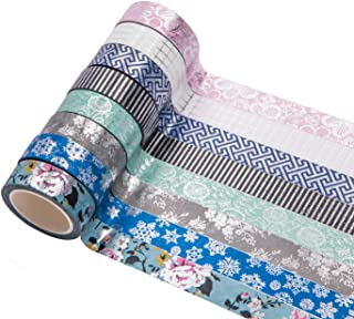 Yubbaex Washi Tape Set Masking Silver Stary Foil Print Decorative for Arts, DIY Crafts, Bullet Journals, Planners, Scrapbooking, Wrapping (15mm x 8 Rolls)