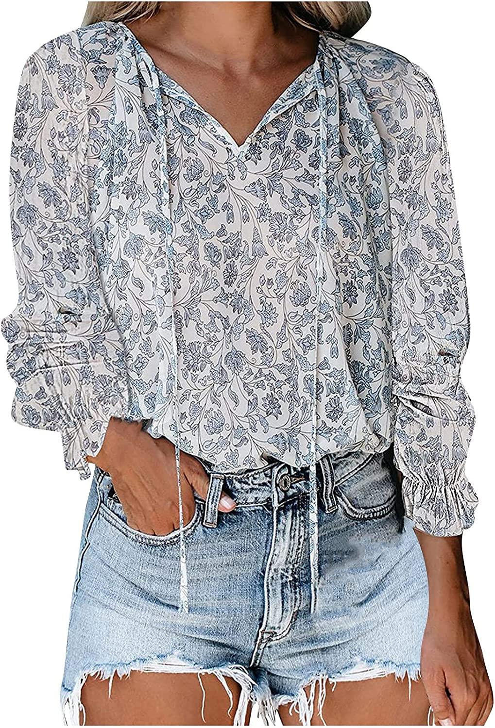 Womens Tops and Blouses V-Neck Floral Printing Casual Long Sleeve Shirt Loose Soft Comfy Pullover Lightweight Breathable