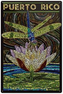 Lantern Press Puerto Rico - Dragonfly Mosaic 52143 (6x9 Aluminum Wall Sign, Wall Decor Ready to Hang)