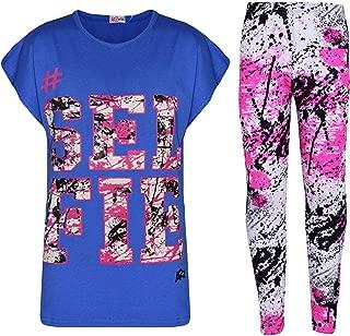 Kids Girls Top Love T Shirt & Splash Print Fashion Legging Set Age 5-13 Years