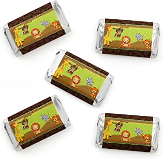 Funfari - Fun Safari Jungle - Mini Candy Bar Wrapper Stickers - Baby Shower or Birthday Party Small Favors - 40 Count