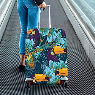 Suitcase Protectors Fit 18-28 Inch Luggage Tropical parrern with flowers and Toucan Print on Dust Proof Luggage Covers