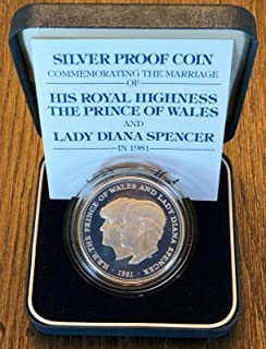 1981 Silver Proof Coin Commemorating Wedding of Prince of Wales and Lady Diana