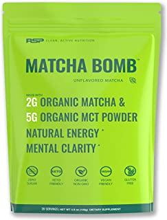 RSP Matcha Bomb (150g) - Organic Matcha Green Tea Powder with MCTs for Natural Energy and Clarity, Non-GMO, Keto Friendly, Vegan Friendly, Gluten Free, Unflavored Matcha (20 Servings)