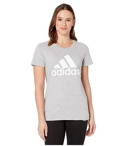 adidas Basic Badge of Sport Short Sleeve Tee (Medium Grey Heather) Women