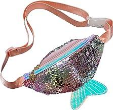 Frecoccialo Ri/ñonera Ni/ña Bolso de la Cintura para Ni/ña de la Lentejuelas de Cola de Sirena Brillante con Ganchos Ajustable Cremallera Disponible en Muchos Colores.