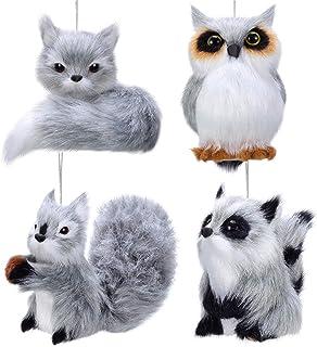 Sumind 4 Pezzi Ornamento di Natale Appeso Plush Animal Ornament Adorabili Ornamenti di Animali da Pelliccia in Bosco Ornam...