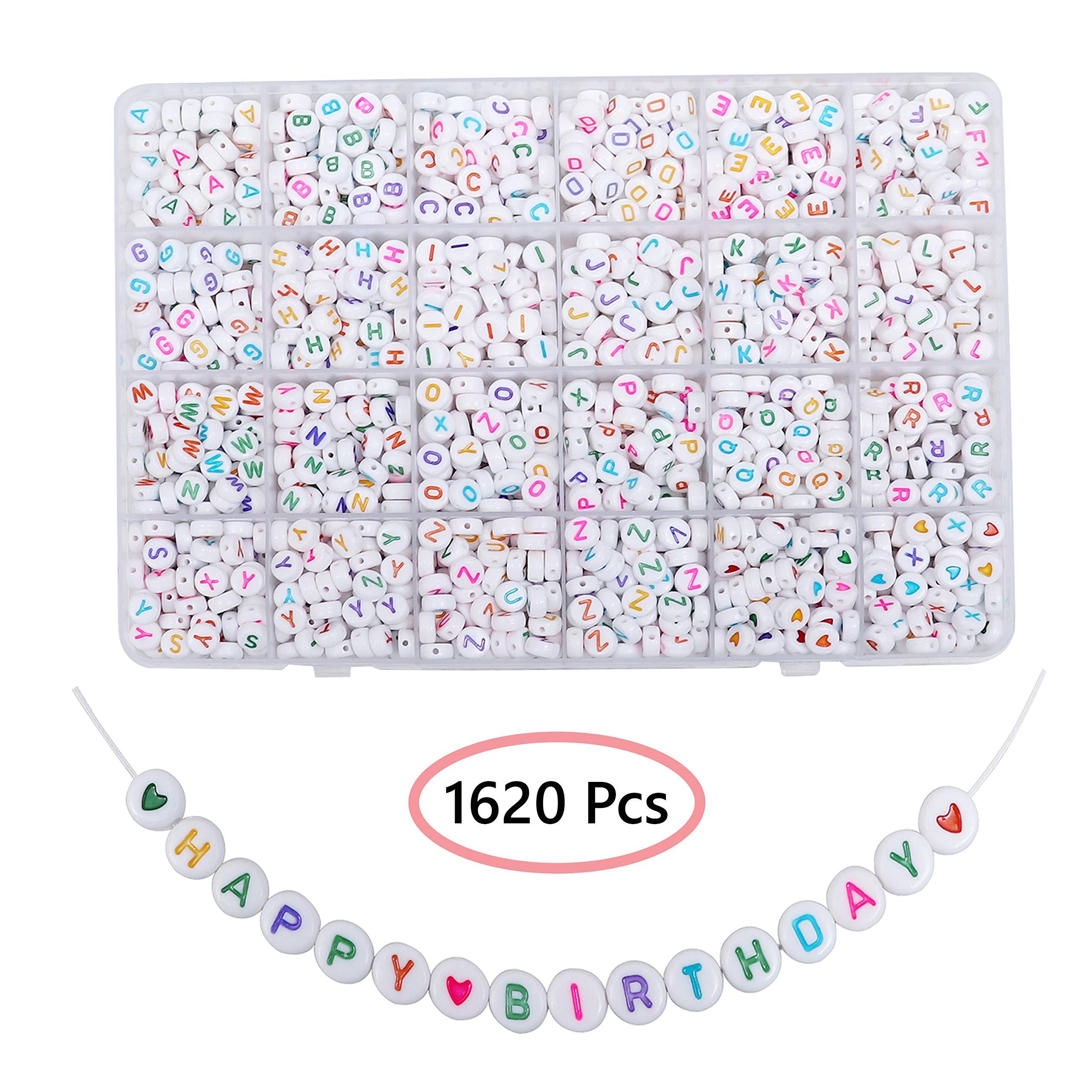 Abalorios de Plastico Alfabeto (A-Z) 1620 Piezas Cuentas Pulseras Redondas con Estuche para Almacenaje e Hilo - 6mm Abalorios Pulseras para Brazaletes, Hacer Joyas Abalorios Blancos Letras de Colores: Amazon.es: Hogar