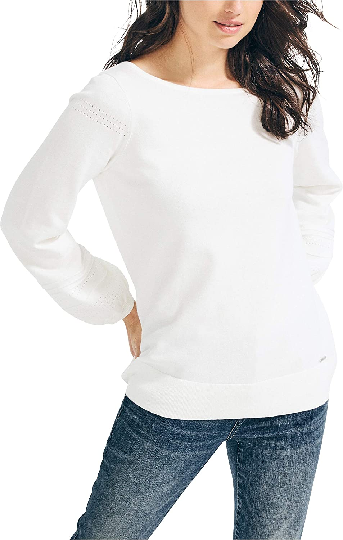 Nautica Women's Classic Soft Cotton Boat Neck Sweater