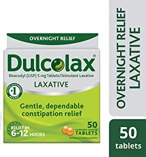 Dulcolax Laxative Tablets, 50 Count, Gentle, Reliable Overnight Relief from Constipation, Hard, Dry, Painful Stools, and Irregular Bowel Movements, Stimulates Bowel to Encourage Movement