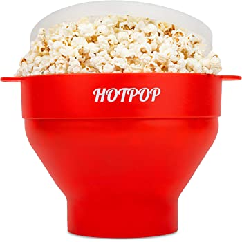 The Original Hotpop Microwave Popcorn Popper, Silicone Popcorn Maker, Collapsible Bowl Bpa Free and Dishwasher Safe- 17 Colors Available (Red)