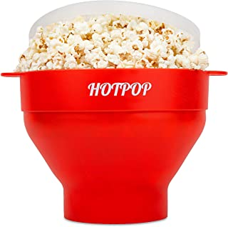 The Original Hotpop Microwave Popcorn Popper -17 Color choices, Silicone Popcorn Maker, Collapsible Bowl Bpa Free and Dish...