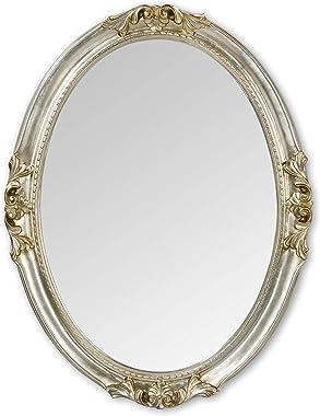 MO.WA Miroir mural ovale classique finition à la main avec feuille argent antique. Dimensions extérieures 63 x 83 cm. Style f