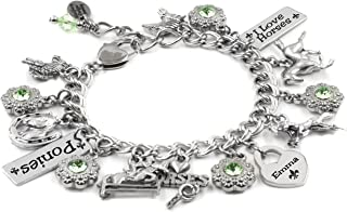 Personalized Horses Bracelet, Custom Engraved Name and Birthstone Handcrafted in Stainless Steel