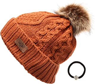 cdd6ab2a351 ANGELA   WILLIAM Women s Winter Fleece Lined Cable Knitted Pom Pom Beanie  Hat with Hair Tie