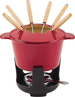 Rachael Ray 1.5-Qt Cast Iron Fondue Set, Quart, Red Shimmer