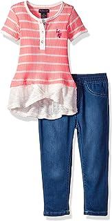 U.S. Polo Assn. Girls' Fashion Top and Legging Set