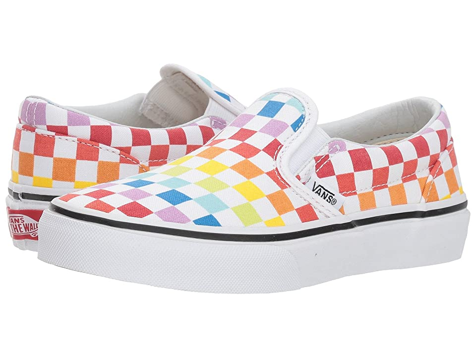 Vans Kids Classic Slip-On (Little Kid/Big Kid) ((Checkerboard) Rainbow/True White) Girls Shoes
