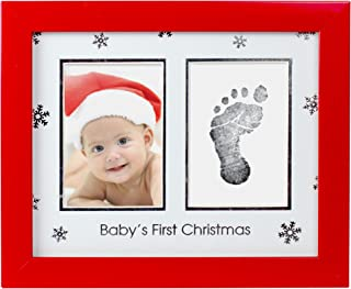 Tiny Ideas Baby's First Christmas Holiday Keepsake Photo Frame with Ink Pad for Handprint or Footprint, Red
