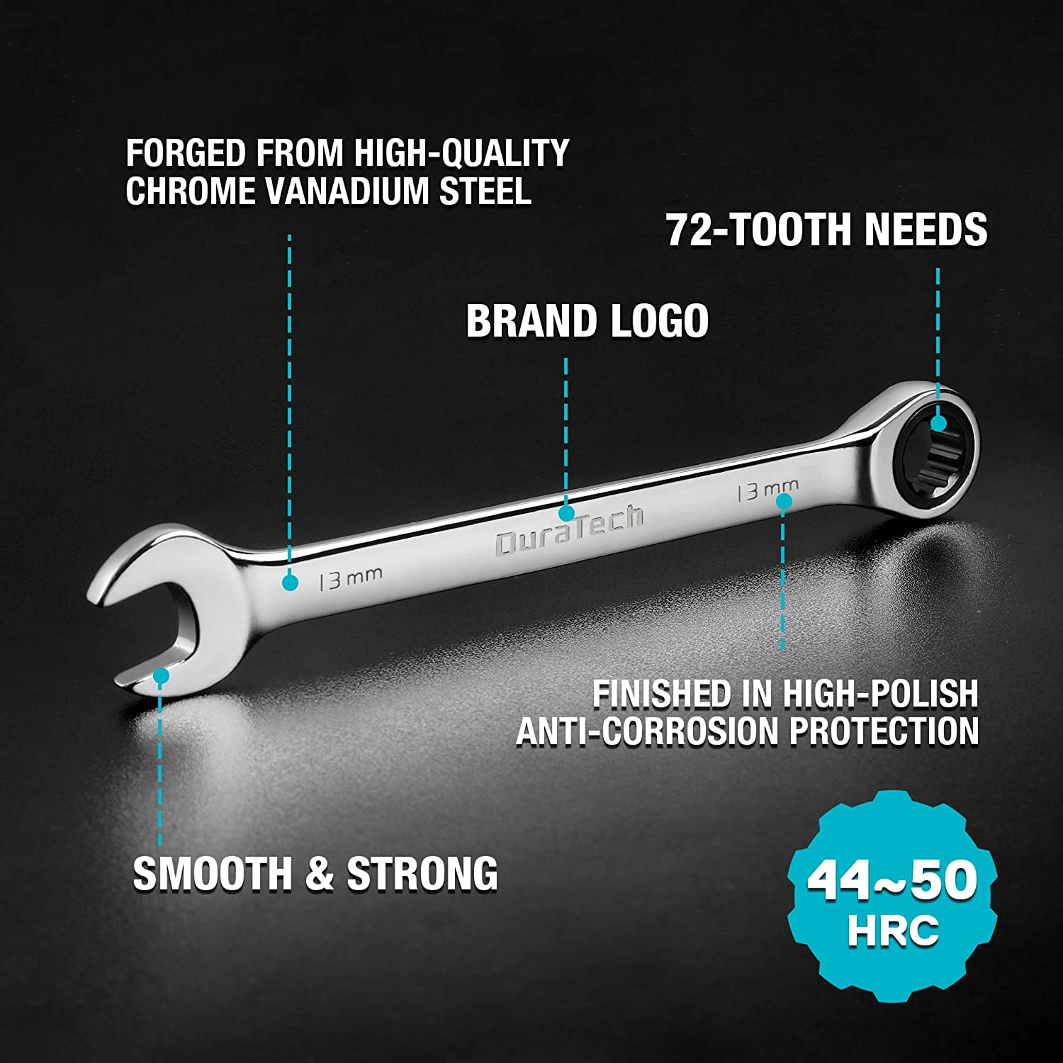 10-piece 6-18mm with Carrying Bag DURATECH Ratcheting Combination Wrench Set Chrome Vanadium Steel Metric