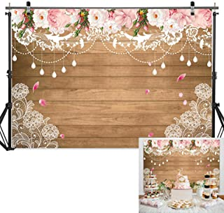 Haboke 7x5ft Wood Texture Floral Curtain Lace Flower Bridal Shower Decorations Backdrop for Baby Birthday Rustic Wedding Bachelorette Party Supplies Photography Studio Booth Props