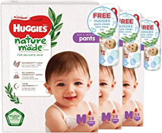 Huggies Platinum Naturemade M Pants + Free Huggies Pure Clean Wipes, 174 count (Pack of 3)