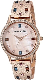 Anne Klein Women's AK/3360MTRG Multicolored Swarovski Crystal Accented Rose Gold-Tone Textured Bangle Watch