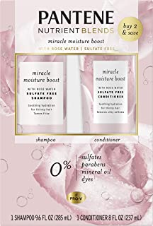 Pantene, Shampoo & Conditioner, Rose Water, Nutrient Blends Miracle Moisture Boost for Dry Hair, Sulfate & Paraben Free, 9.6 Fl Oz, Dual Pack