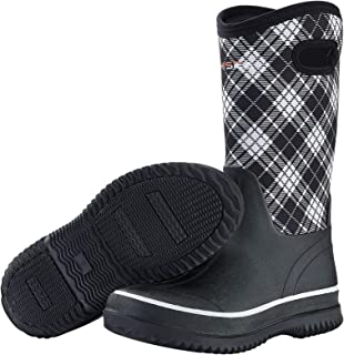HISEA Rain Boots for Women Mid Calf Muck Rubber Boots Waterproof Neoprene Insulated Barn Boots for Mud Working Gardening