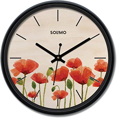 Amazon Brand - Solimo 12-inch Plastic & Glass Wall Clock - Full Bloom (Silent Movement), Black