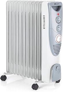 PureMate Radiador de Aceite 2500W - 11 Elementos, 3 Configuraciones de Calor, Temporizador y Termostato