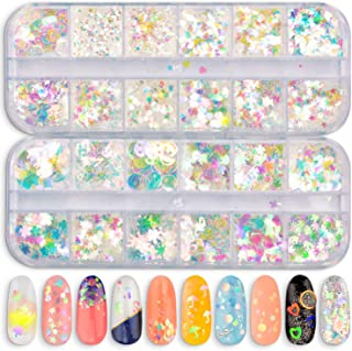 Warmfits 24 Boxes Nail Sequins Iridescent Mermaid Colorful Nail Glitter Nail Art Decoration Holographic Shining Nail Flakes Semi-transparent Thin for DIY Nail Art & Crafts Festival Face Eyes Body