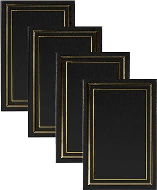 DesignOvation Traditional Photo Album Set of 4, 300, Black