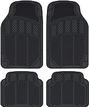 CarXS ProLiner Classic Rubber Car Floor Mats - Heavy Duty Ridges & Diamond Grid Heelpad Performance Liners for Auto Sedan Truck SUV Van (Black)