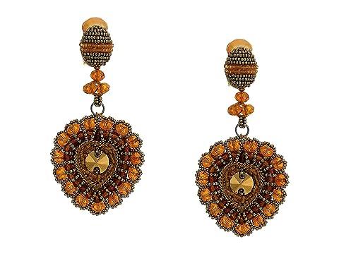 Oscar de la Renta Runway Embroidered Heart C Earrings