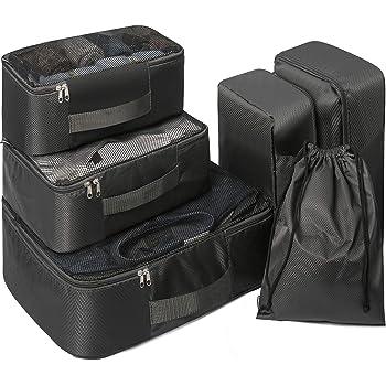 Compression Kleidertaschen Set 6 Teilig,Packing Cubes | Packtaschen Set & Gepäck Organizer für Rucksack & Koffer,Packwürfel für die Reise(Schwarz).
