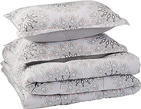 AmazonBasics Comforter Set, King, Grey Boho Medallion, Microfiber, Ultra-Soft