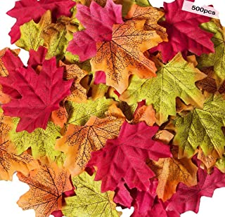Susi&Rita 500 pcs Artificial Maple Leaves 10 Color Mixed Rich Fall Colored Leaves for Weddings Decorations or Christmas Party