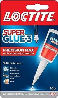 Loctite Super Glue-3 Précision Max, colle forte pour réparations précises, colle liquide tous matériaux, colle transparent...