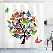 Ambesonne Tree of Life Decor Collection, Shaded Butterfly Moth Tree Colored Wings Flying New Life Theme Illustration Hope Home, Polyester Fabric Bathroom Shower Curtain, 75 Inches Long, Multi