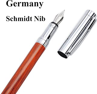 """LACHIEVA Luxury Rosewood Fountain Pen with Elegant Wood Box Pack Germany Schmidt""""FINE"""" Size Nib- Perfect for Gifts"""