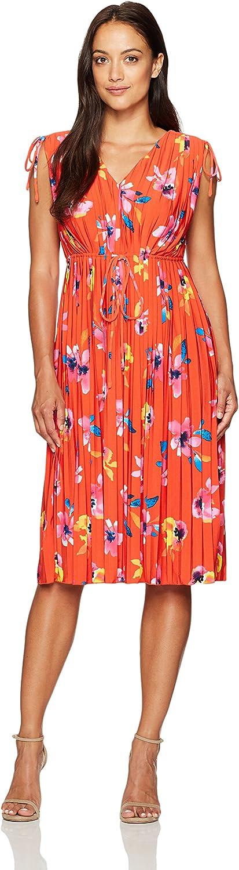 Ellen Tracy Womens Tie Waist Pleat Dress Dress