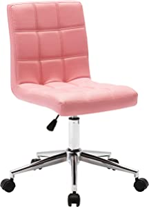 Porthos Home Finch Task Chair with Adjustable Height and 360̊ Swivel in Tufted Upholstery (Armless Design Suitable for Home Studios and Small Offices), One Size, Pink