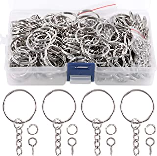 """Swpeet 450Pcs 1"""" 25mm Sliver Key Chain Rings Kit, Including 150Pcs Keychain Rings with Chain and 150Pcs Jump Ring with 150..."""