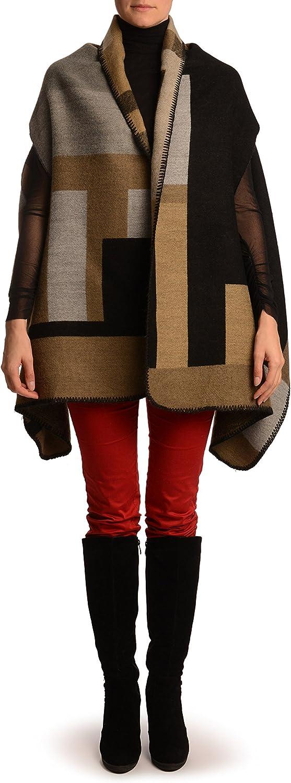 Large Grey, Beige & Black Colour Blocks Blanket Wrap (Poncho) - Poncho