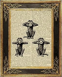 Three Wise Monkeys Upcycled Vintage Book Page Art Print 8x10 Unframed See Hear Speak No Evil