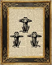 Three Wise Monkeys Upcycled Vintage Book Page Art Print 8x10 Unframed See Hear Speak No Evil
