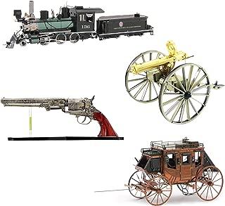 Fascinations Metal Earth 3D Metal Model Kits Wild West Set of 4 - Revolver - Stagecoach - Gatling Gun - 2-6-0 Locomotive