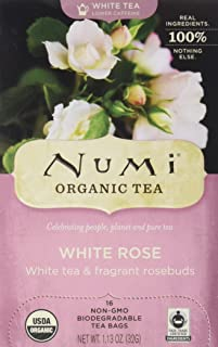Numi Organic Tea White Rose, 16 Count Box of Tea Bags, White Tea